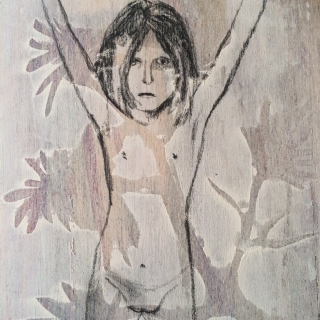 JOINED SHOWERS//MONOTYPE AND GRAPHITE ON WOOD//20ס30//2012