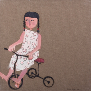 A GENERAL GIRL//OIL AND EMBROIDERY ON CANVAS//50X50//2009//SOLD
