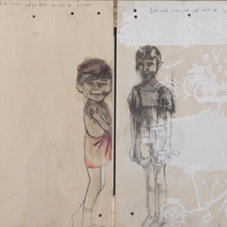 CHILDREN OF MY CLASS//GRAPHITE ON WOOD////2010////PRIVATE COLLECTION