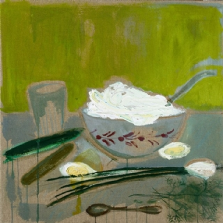 GREEN ONIONS AND CREAM//ACRYLIC ON CANVAS//50X50//2015