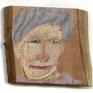 A GRANDMOTHER//CRAYONS ON WOOD PLANK//2015