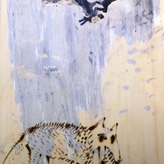 Night animals//monotype and hot pencil on wood//20x30//201//sold