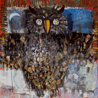 Owl//oil and collage on canvas//100x100//2009